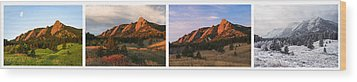 The Flatirons - Four Seasons Panorama Wood Print