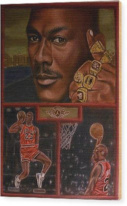 The Flight Instructor Feat Michael Jordan Wood Print by D Rogale