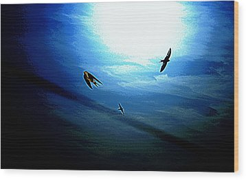 Wood Print featuring the photograph The Flight by Miroslava Jurcik