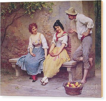 The  Flirtation Wood Print by Pg Reproductions