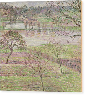 The Flood At Eragny Wood Print by Camille Pissarro