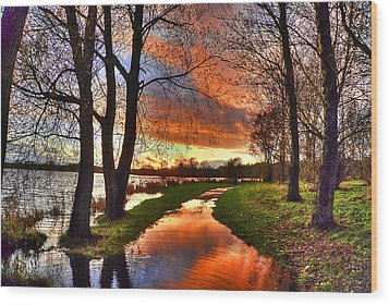 The Flooded Sunset Path Wood Print by Kim Shatwell-Irishphotographer