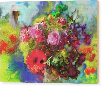 Wood Print featuring the painting The Florist by Ted Azriel