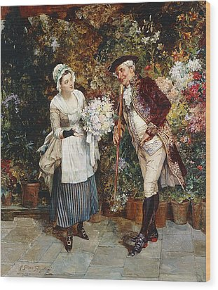 The Flower Girl Wood Print by Henry Gillar Glindoni