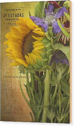 Wood Print featuring the photograph The Flower Market by Priscilla Burgers