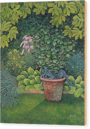 The Flower Pot Cat Wood Print by Ditz