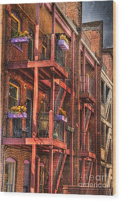The Flower Pots On The Patio Wood Print by Paul Ward