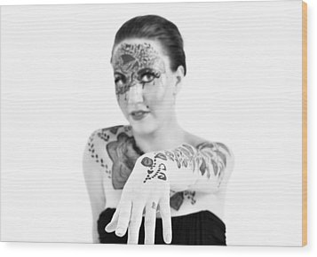 The Flower Tattoo  Wood Print by Alex Pochinok