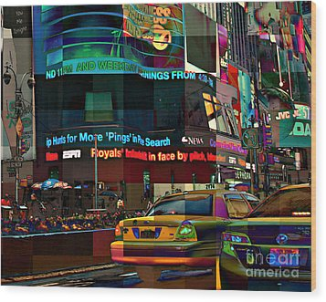 The Fluidity Of Light - Times Square Wood Print