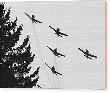 The Fly Past Wood Print by Chris Dutton