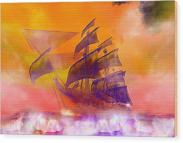 The Flying Dutchman Ghost Ship Wood Print by Carol and Mike Werner