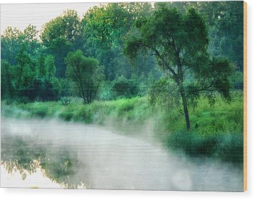 The Foggy Lake Wood Print by Kimberleigh Ladd
