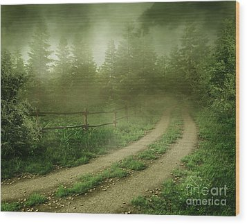 The Foggy Road Wood Print by Boon Mee