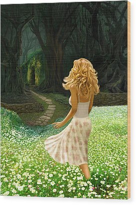 The Forbidden Forest Wood Print by Bob Nolin