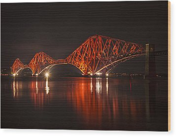 The Forth Bridge By Night Wood Print