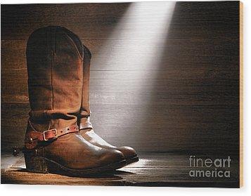 The Found Boots Wood Print by Olivier Le Queinec