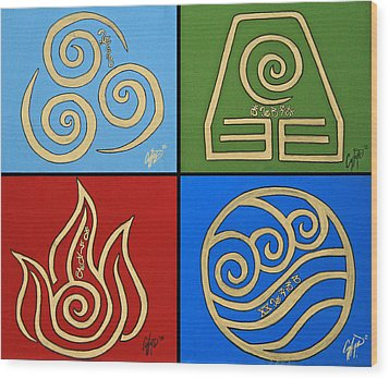 The Four Elements In Cy Lantyca Wood Print