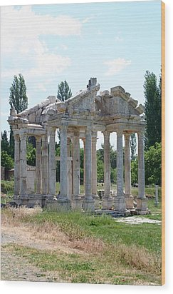 The Four Roman Columns Of The Ceremonial Gateway  Wood Print by Tracey Harrington-Simpson
