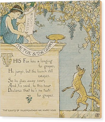 The Fox And The Grapes Wood Print by Pg Reproductions