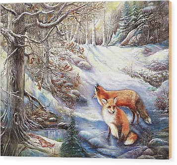 The Foxes Of Panel Mine Road Wood Print by Patricia Schneider Mitchell
