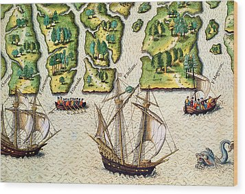 The French Discvoer Six More Rivers Wood Print by Jacques Le Moyne