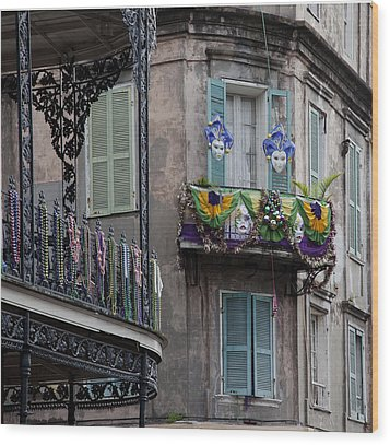 The French Quarter During Mardi Gras Wood Print by Mountain Dreams