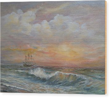 Wood Print featuring the painting Sunlit  Frigate by Luczay