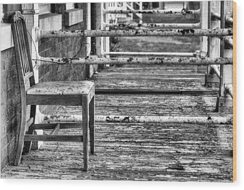 The Front Porch Bw Wood Print by JC Findley