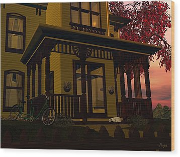 Wood Print featuring the digital art The Front Porch by John Pangia