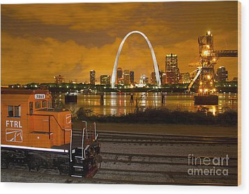 The Ftrl Railway With St Louis In The Background Wood Print