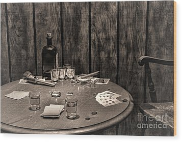 The Gambling Table Wood Print by Olivier Le Queinec