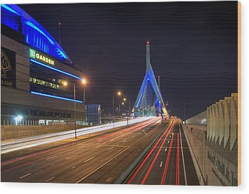 The Garden And The Zakim Wood Print by Joann Vitali