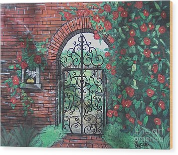 The Garden Gate Wood Print by Lucia Grilletto