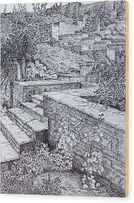 The Garden Wall Wood Print by Janet Felts
