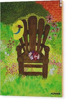 Wood Print featuring the painting The Gardener's Chair by Celeste Manning