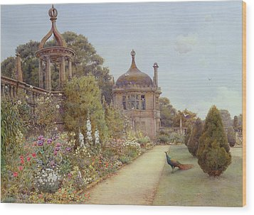 The Gardens At Montacute In Somerset Wood Print by Ernest Arthur Rowe