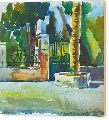 The Gate At Stella Maris Wood Print by Anna Lobovikov-Katz