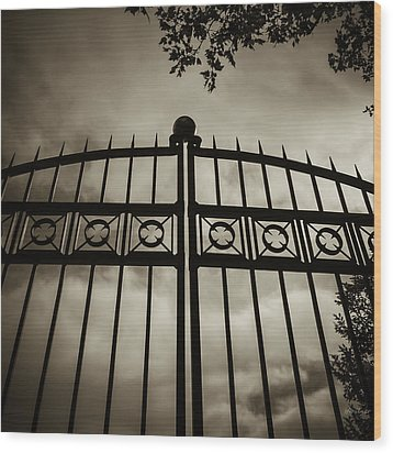 Wood Print featuring the photograph The Gate In Sepia by Steven Milner