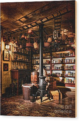 The General Store In My Basement Wood Print by Olivier Le Queinec