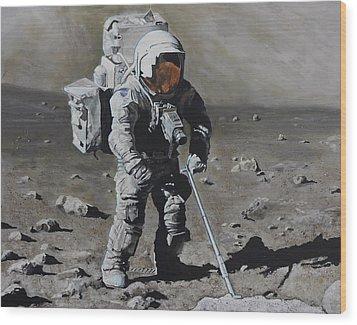 The Geologist- Harrison Schmitt. Apollo 17 Wood Print by Simon Kregar