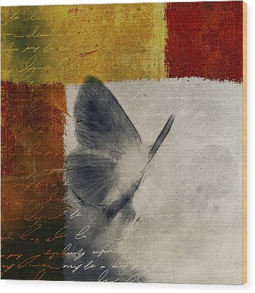 The Giant Butterfly And The Moon - S09-22cbrt Wood Print by Variance Collections
