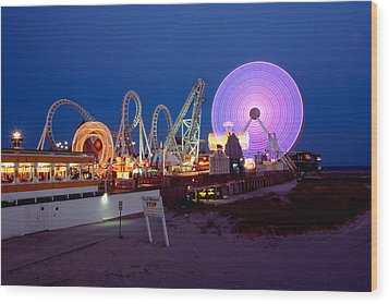 The Giant Wheel At Night  Wood Print by George Oze