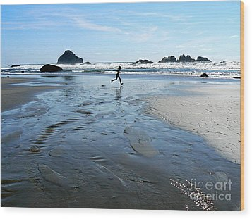 the Girl and the Ocean Wood Print by Dona  Dugay