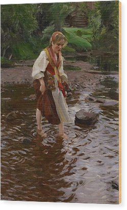 The Girl From Alvdalen Wood Print by Anders Leonard Zorn
