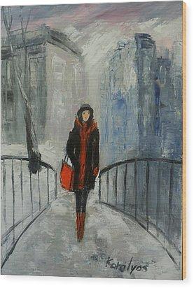 The Girl In Black Wood Print by Maria Karalyos