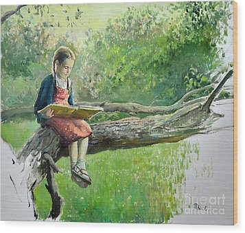 The Girl With Book Wood Print by Eugene Maksim