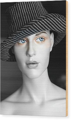 The Girl With The Fedora Hat Wood Print by Sophie Vigneault