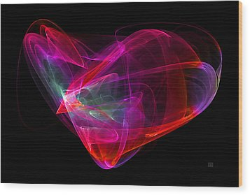 Wood Print featuring the digital art The Glass Heart by Menega Sabidussi