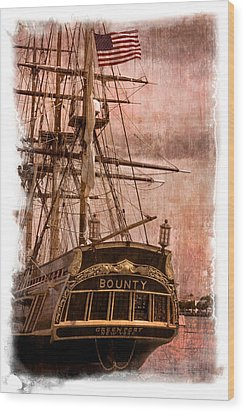 The Gleaming Hull Of The Hms Bounty Wood Print by Debra and Dave Vanderlaan
