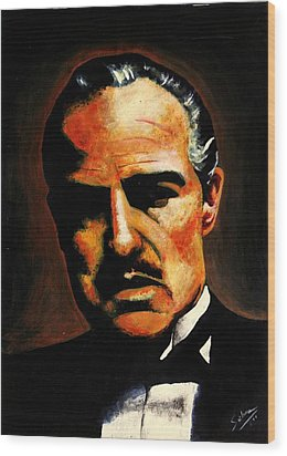 Wood Print featuring the painting Godfather by Salman Ravish